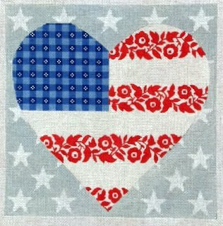 Floral Flag - Stars & Stripes Heart