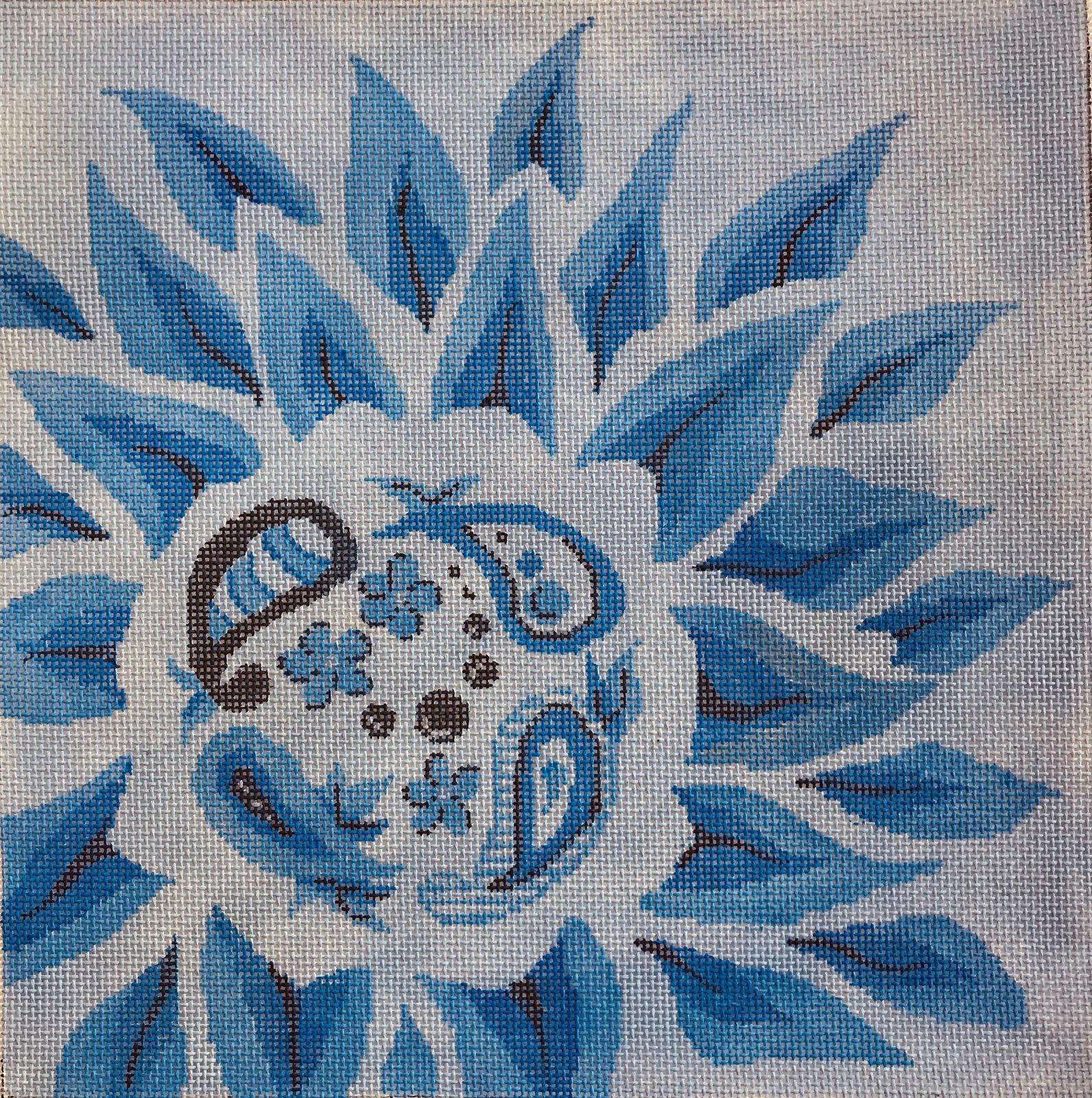 Blue dahlia with paisley center
