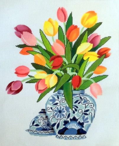 Tulips in Blue & White Vase
