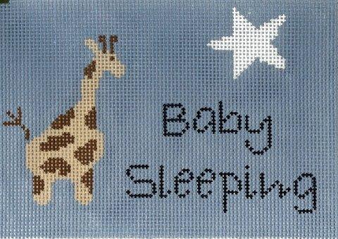 baby sleeping giraffe - blue