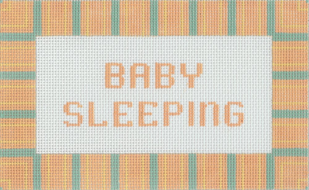 Baby Sleeping with Orange & Blue Stripes