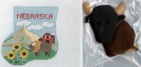 Nebraska mini sock with buffalo