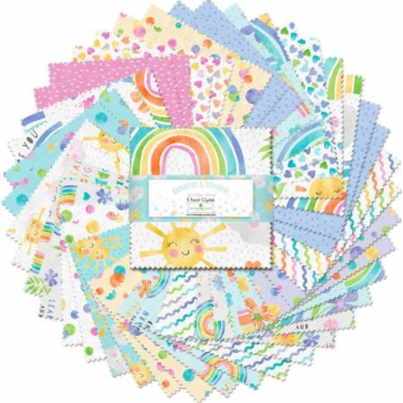 508-664-508 5 x 5 squares. Raindrops and Sunshine, by Anne Rowan, 5 Karat Crystals for Wilmington prints. 42 piece bundle charm pack
