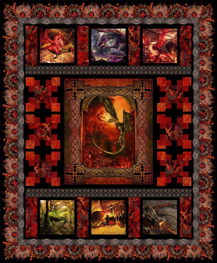 DQQK1 Dragons Quilt Red   76.5 x 92.5