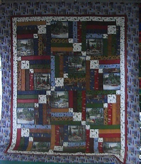 River Journey- Log Cabin Quilt Kit 75x 91  RJQK1