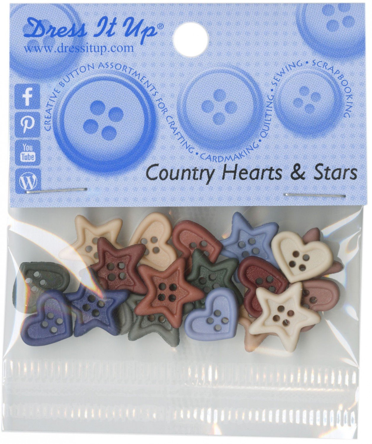 Country Hearts & Stars buttons