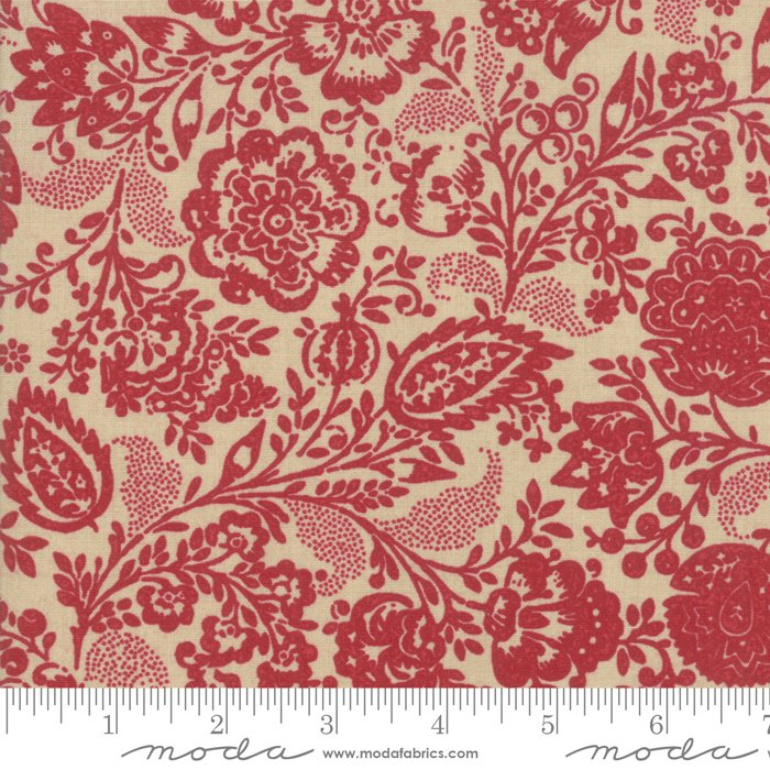 Chafarcani by French General - Floral Carmine - Tan/Red - Moda 13850 21