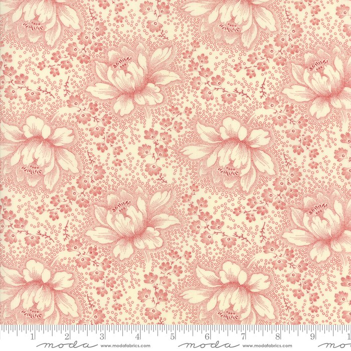 Farmhouse Reds by Minick & Simpson - Etched Floral - Ivory/Red - Moda 14850 13