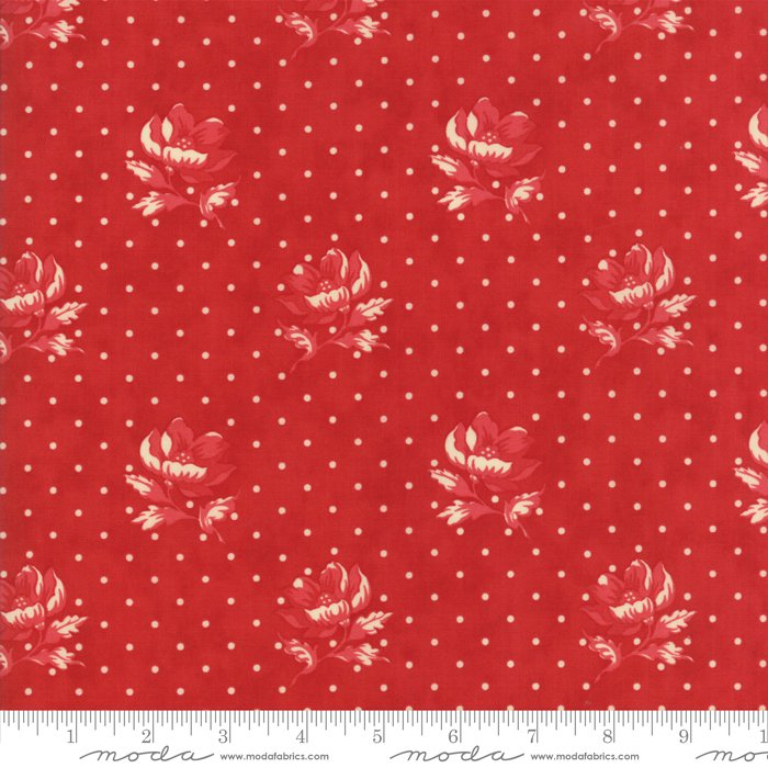 Farmhouse Reds by Minick & Simpson - Polka Dots/Flowers - Red  - Moda 14851 11