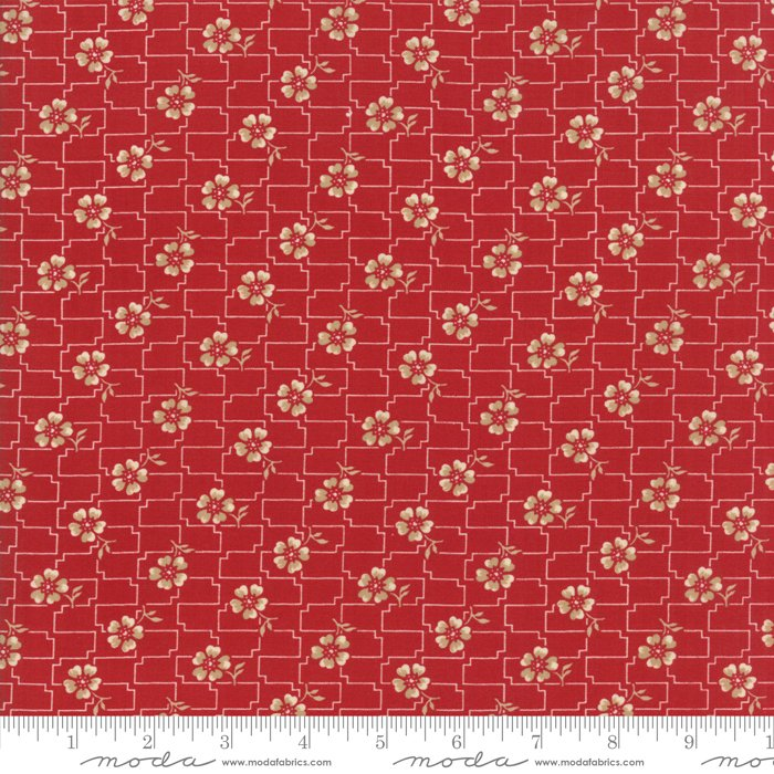 Farmhouse Reds by Minick & Simpson - Floral Grid - Red  - Moda 14852 11