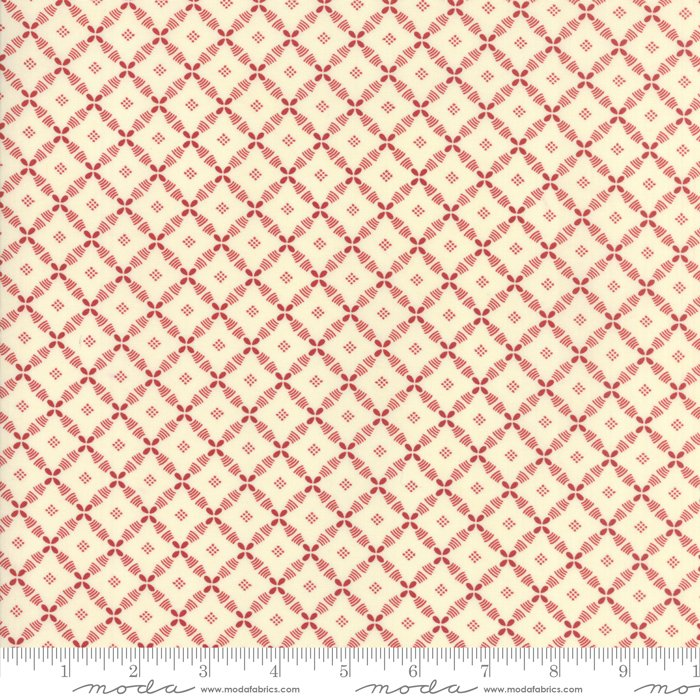 Farmhouse Reds by Minick & Simpson - Floral Lattice - Ivory  - Moda 14857 13
