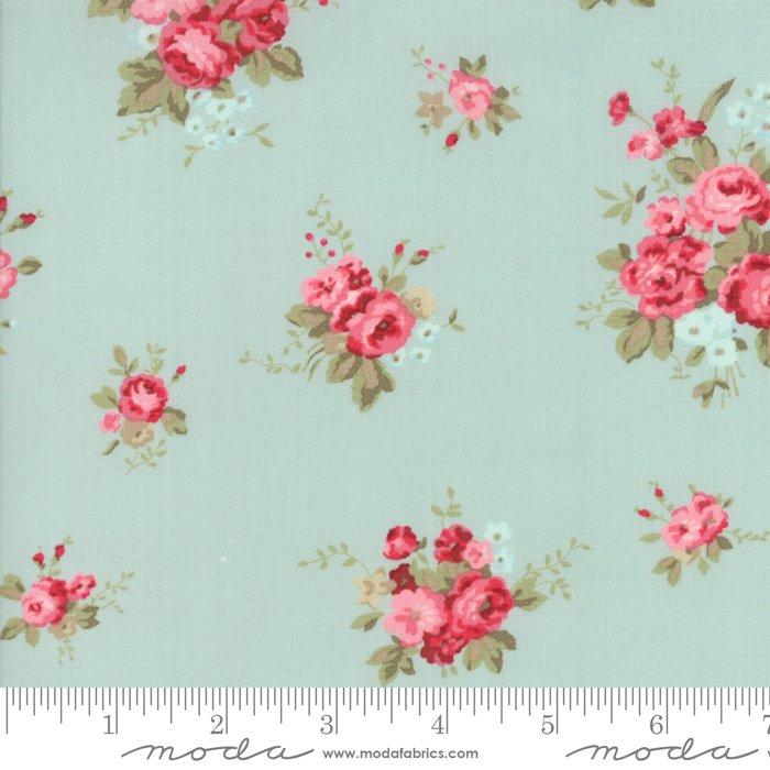 Caroline by Brenda Riddle - Floral - Aqua - Moda 18650 13