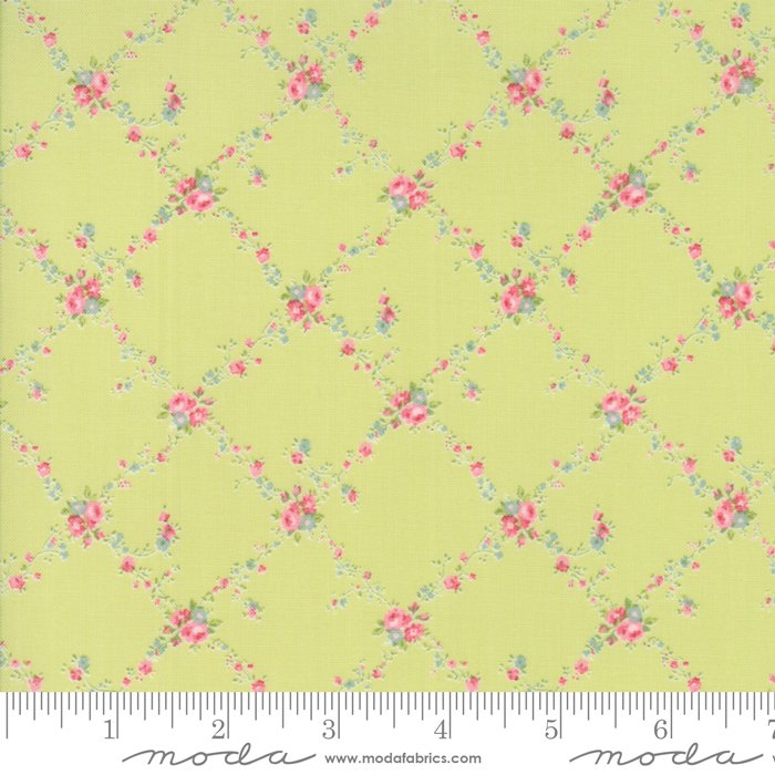 Caroline by Brenda Riddle - Floral - Lattice - Light Green - Moda 18651 14