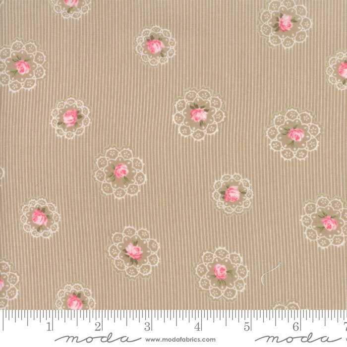 Caroline by Brenda Riddle - Floral - Roses - Tan  - Moda 18652 16