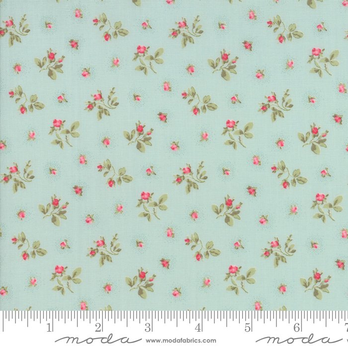 Caroline by Brenda Riddle - Floral - Rosebuds - Aqua - Moda 18653 12
