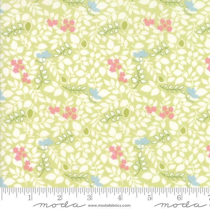 Caroline by Brenda Riddle - Floral - Scattered Leaves - Light Green - Moda 18655 13