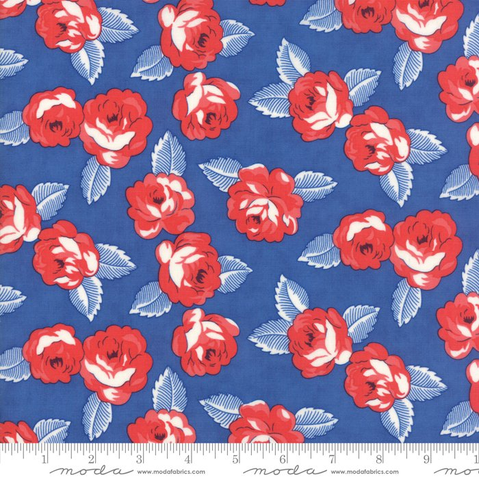Feed Sacks - True Blue by Linzee Kull McCray - Reproduction Roses - True Blue - Moda 23305 12
