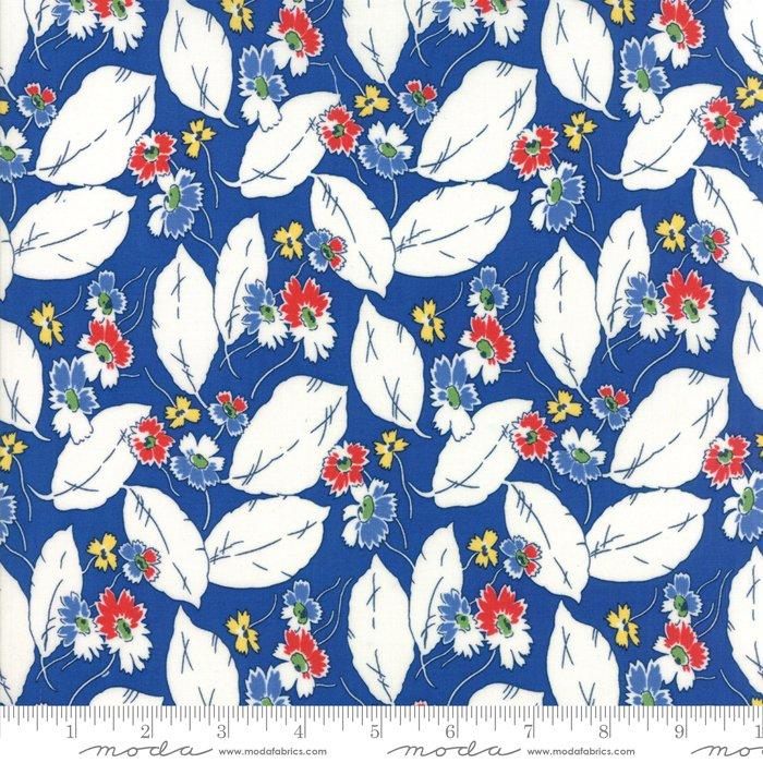 Feed Sacks - True Blue by Linzee Kull McCray - Reproduction Drifting Leaves - Dark Blue - Moda 23306 14