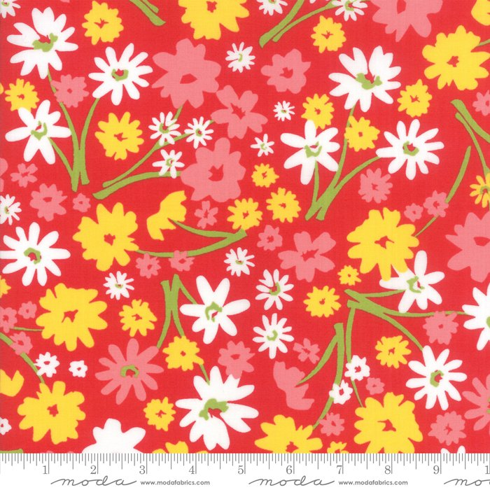 Mama's Cottage by April Rosenthal - Flower Patch - Apple Red - Moda 24050 23