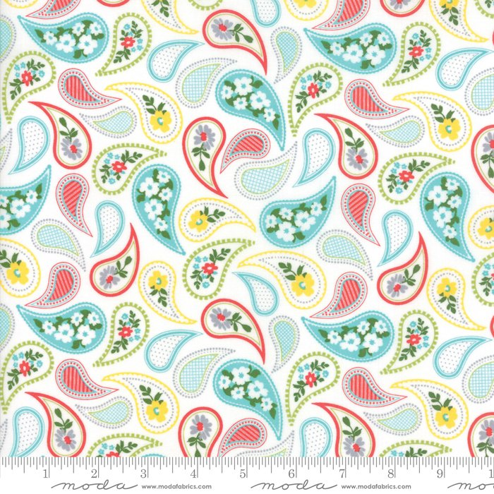 Mama's Cottage by April Rosenthal - Paisley - Vanilla/Aqua - Moda 24052 24