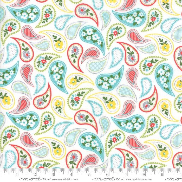 Mama's Cottage by April Rosenthal - Paisley - Vanilla/Aqua - Moda 24052 24