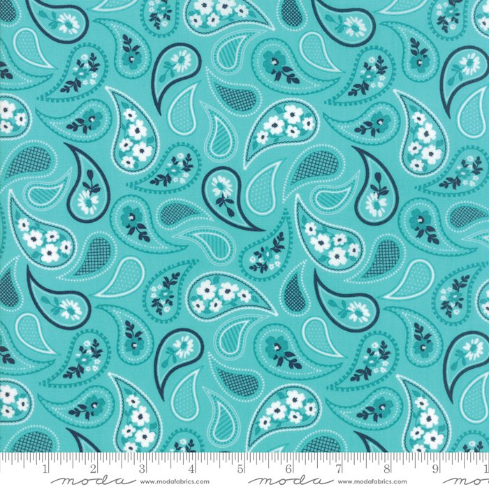 Mama's Cottage by April Rosenthal - Paisley - Aqua - Moda 24052 30