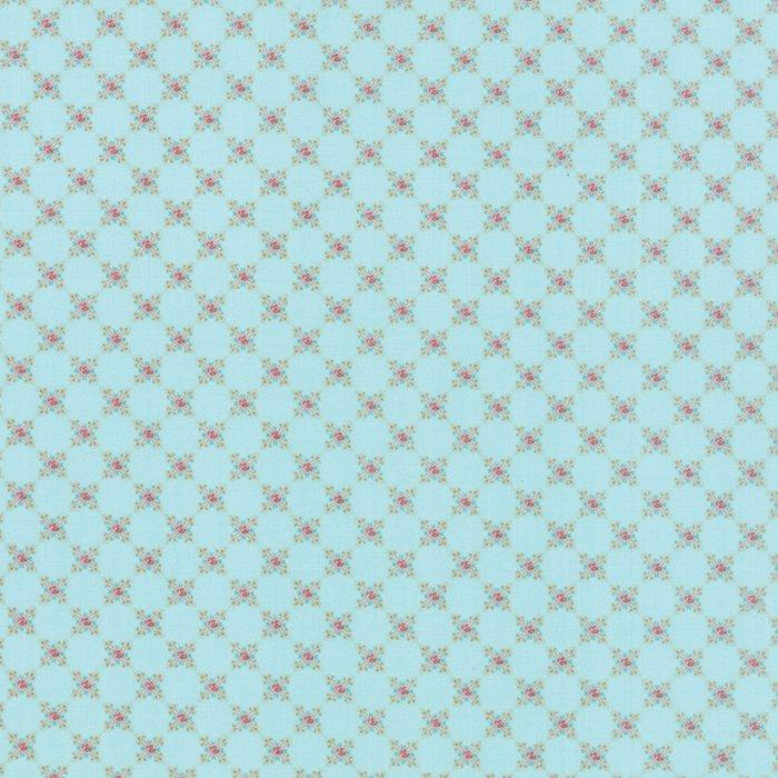 Kindred Spirits by Bunny Hill Designs - Small Rose Aqua - Moda 2898 20FQ - Fat Quarter