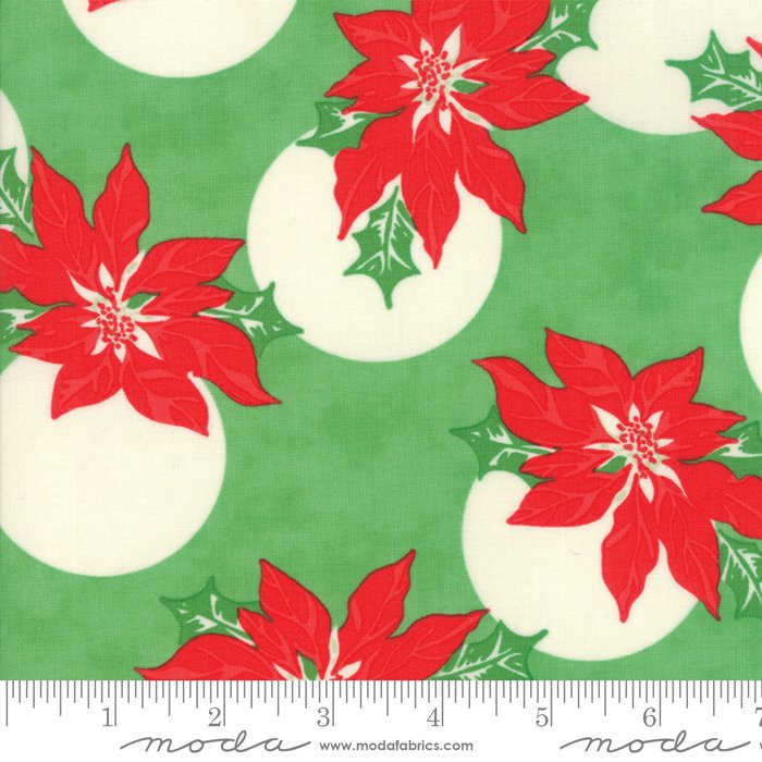 Swell Christmas by Urban Chiks - Christmas Poinsettia Polka Dot - Green - Moda 31121 14