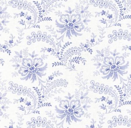 Summer Breeze Favorites by Sentimental Studios - Floral Jacobean Lace  - Natural/Blue - Moda 32592 11