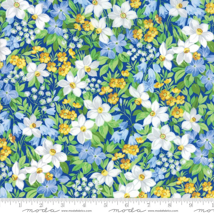 Summer Breeze V by Sentimental Studios - Floral Spring Garden - Dark Blue  - Moda 33300 14