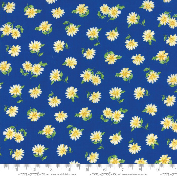 Summer Breeze V by Sentimental Studios - Floral Daisies - Dark Blue  - Moda 33306 14