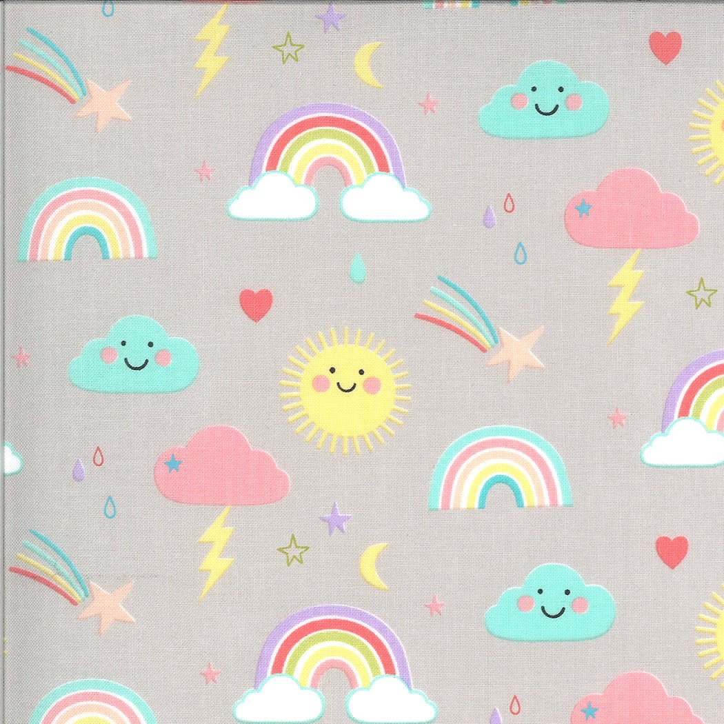 Hello Sunshine by Abi Hall - Rainbows - Grey - Moda 35350 12