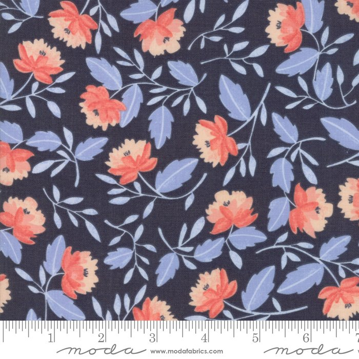 Twilight by One Canoe Two - Floral Peony - Dark Blue - Moda  36031 15FQ - Fat Quarter