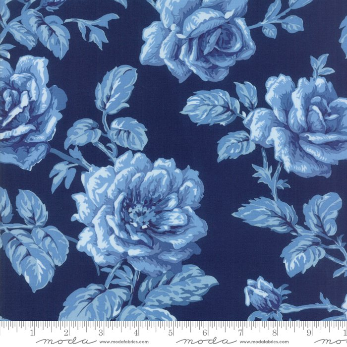 Regency Blues by Christopher Wilson-Tate - Floral Reproduction - English Blue - Moda 42301 15FQ - Fat Quarter