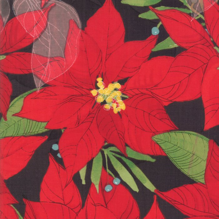 Splendid by Robin Pickens - Christmas Poinsettias - Black - Moda 48650 18