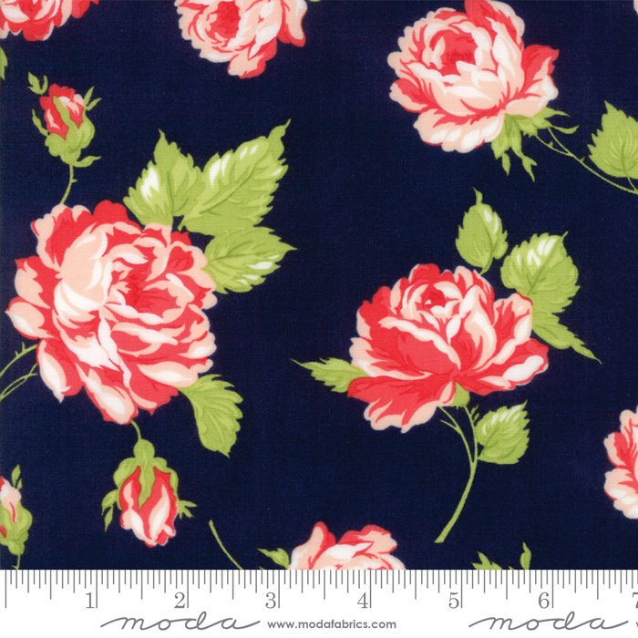 Smitten by Bonnie and Camille - Rosy - Navy - Moda 55170 15FQ - Fat Quarter