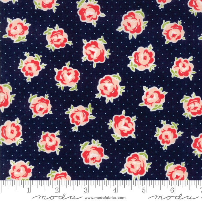 Smitten by Bonnie and Camille - Rosy - Navy - Moda 55177 15FQ - Fat Quarter
