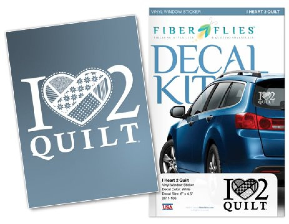 Window Decal - I Heart 2 Quilt