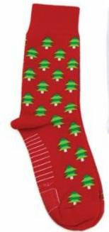 Socks - Christmas - Red w/Tree - Moda