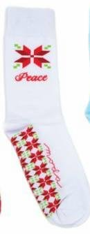 Socks - Christmas - Peace - White - Moda