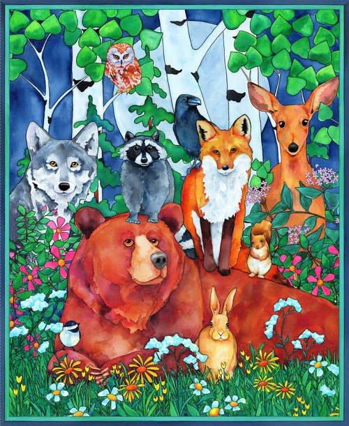 Blank Quilting - Digital Woodland Fantasy Panel