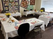 Beautifully decorated tables for our special luncheon at Patchwork Quilts.