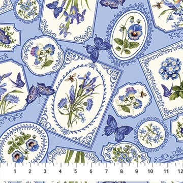 Northcott - Botanical Blues 20457-42 Blue
