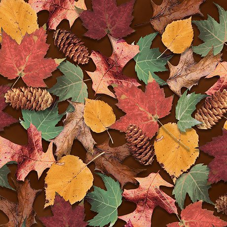 North Woods 26261-A Leaves & Pinecones Brown