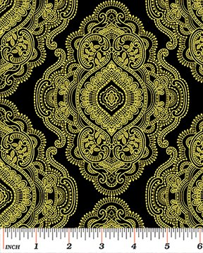 Benartex - Medallion Metal Lace - Black/Gold