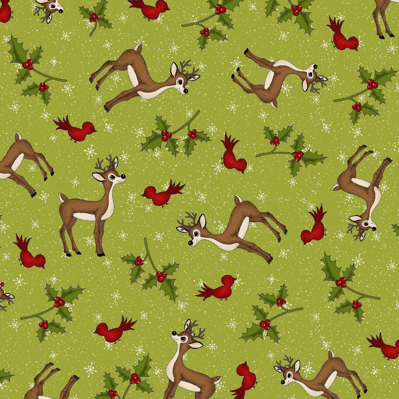 Henry Glass Reindeer Magic 8779 66 Green Character Toss