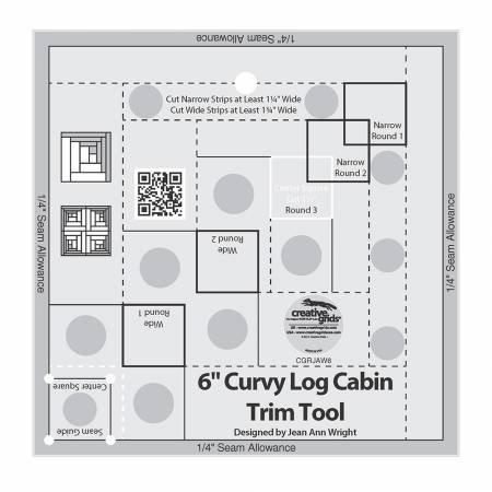 Creative Grids Curvy Log Cabin Trim Tool 6in Finished Blocks