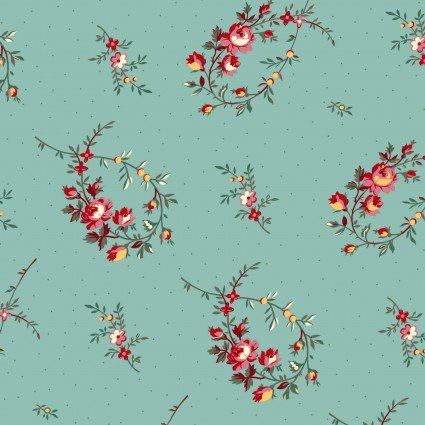 Clothworks - Raspberry & Cream Y2060-103 Light Teal