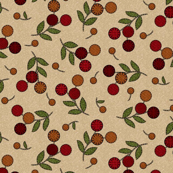Maywood - Flower Patch Flannel F8311M-T Tan Cherries 'n Berries Flannel