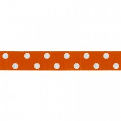Dotted Ribbon - 7/8 Polka Dot Ribbed Orange/White